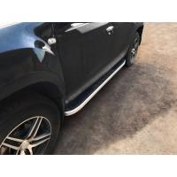 Боковые пороги Tayga V2 Grey (2 шт., алюминий) для Dacia Duster 2008-2018