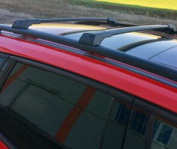 Dodge Nitro 2007↗ гг. Перемычки на рейлинги без ключа (2 шт) Серый