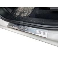 Накладки на пороги 500L (Carmos, 4 шт, нерж) для Fiat 500/500L