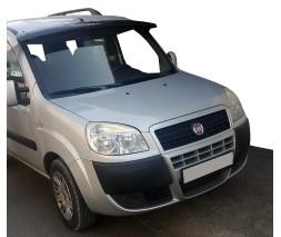 Fiat Doblo II 2005+ гг. Козырек на лобовое стекло (черный глянец, 5мм)