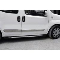 Боковые пороги Allmond Grey (2 шт, алюм.) для Fiat Fiorino / Qubo 2008+
