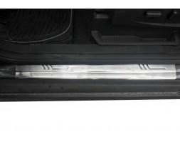 Ford C-Max 2004-2010 гг. Накладки на пороги OmsaLine (4 шт, нерж.)