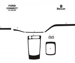Ford Connect 2010-2013 гг. Накладки на панель (маленький комплект) Дерево
