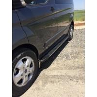 Ford Custom 2013+ Боковые пороги Bosphorus Grey (2 шт., алюминий) Короткая база
