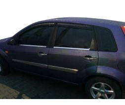 Ford Fiesta 2002-2008 гг. Наружная окантовка стекол (4 шт, нерж) Carmos - Турецкая сталь