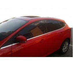 Ford Focus III 2011-2017 гг. Нижняя окантовка стекол (8 шт, нерж) SW, OmsaLine - Итальянская нержавейка
