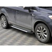 Боковые пороги Allmond Grey (2 шт, алюм.) для Ford Kuga 2008-2013