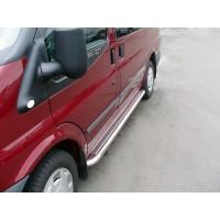 Боковые пороги Premium (2 шт., нерж.) 60 мм, короткая база для Ford Transit 2000-2014