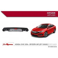 Диффузор на задний бампер (Niken, под покраску) для Honda Civic Sedan X 2016+