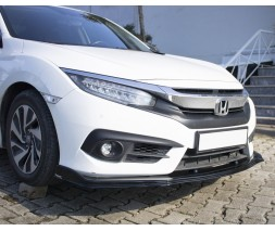 Honda Civic Sedan X (2016↗) Накладка на передний бампер ЛИП (черная)