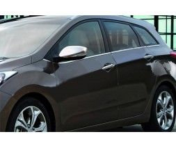 Hyundai Elantra 2011-2015 гг. Накладки на зеркала с вырезом под поворот (2 шт, нерж)