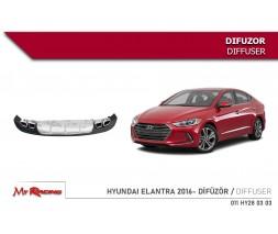 Hyundai Elantra 2015+ гг. Диффузор на задний бампер (Niken, под покраску)