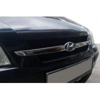 Накладки на решетку радиатора (2 част., нерж.) для Hyundai Getz