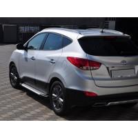 Боковые пороги Allmond Grey (2 шт, алюм.) для Hyundai IX-35 2010-2015