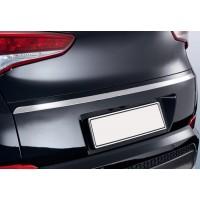 Кромка над номером (верхняя, узкая, нерж) OmsaLine - Итальянская нержавейка для Hyundai Tucson TL 2016+