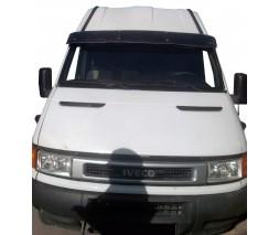 Iveco Daily 1999-2006 гг. Козырек на лобовое стекло (черный глянец, 5мм)