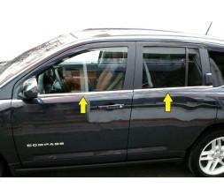 Jeep Compass 2006-2016 гг. Нижняя окантовка стекол (нерж)