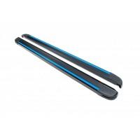 Боковые пороги Maya Blue-Black (2 шт., алюминий) для Kia Sportage 2010-2015