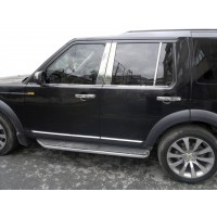 Молдинг дверных стоек (6 шт, нерж.) для Land Rover Discovery IV