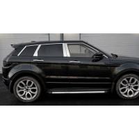 Молдинг дверных стоек (6 шт, нерж.) для Range Rover Evoque 2012-2018