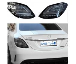 Mercedes C-сlass W205 2014-2021 гг. Задние фонари Black (2 шт)