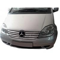 Mercedes Vaneo W414 Накладки на решетку радиатора (7 частей, нерж)
