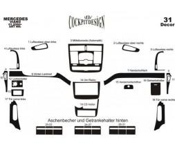 Mercedes Viano 2004-2015 гг. Накладки на панель Meric (Передняя часть + вставки в салон) 2004-2006, Дерево