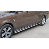 Боковые пороги Premium (2 шт., нерж.) d60, Длинная база для Mercedes Vito / V W447 2014+