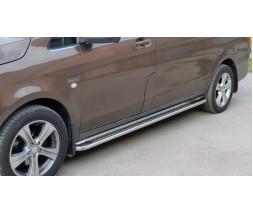 Mercedes Vito / V W447 2014+ гг. Боковые пороги Premium (2 шт., нерж.) d42, Короткая/Средняя база