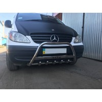 Кенгурятник WT004 (нерж.) с надписью, 2010-2015, 60мм для Mercedes Vito W639 2004-2015