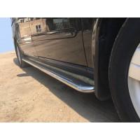 Боковые пороги Premium (2 шт., нерж.) d60, Длинная база для Mercedes Vito W639 2004-2015
