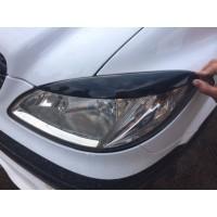 Реснички прямые (2 шт, пластик) Черный мат для Mercedes Vito W639 2004-2015