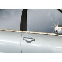 Наружная окантовка стекол (4 шт, нерж) Carmos - Турецкая сталь для Mitsubishi Lancer 9 2004-2008