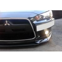 Подставка под номер (пластик) Черный мат для Mitsubishi Lancer X 2008+