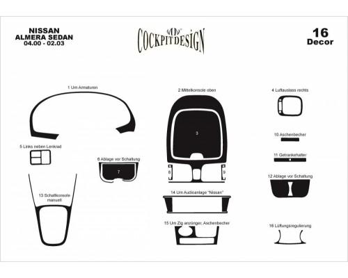 Накладки на панель (00-03) для Nissan Almera 2000-2006