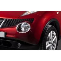 Накладки на передние фонари (2 шт, нерж) 2010-2014, Carmos - Турецкая сталь для Nissan Juke 2010-2019