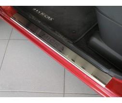 Nissan Micra K12 2003-2010 гг. Накладки на пороги Натанико премиум (4 шт, нерж.)