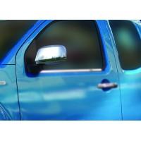 Накладки на зеркала (2 шт, нерж.) Без повторителя поворота для Nissan Navara 2006-2015