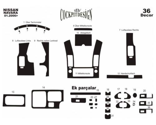 Тюнинг салона (36 деталей) Дерево для Nissan Navara 2006-2015