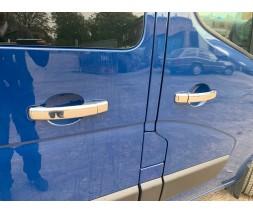 Nissan NV300 2016+ гг. Накладки на ручки (4 шт) 1 отверстие, Carmos - Хромированный пластик