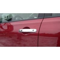Накладки на ручки (2 шт, нерж) Без чипа, Carmos - турецкая сталь для Nissan Pathfinder R51 2005-2014