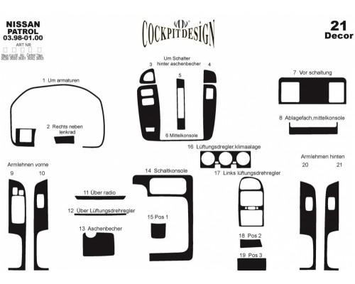 Накладки на панель (1998-2000) для Nissan Patrol Y61 1997-2011