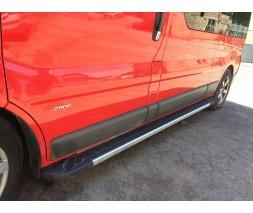 Nissan Primastar 2002-2014 гг. Боковые пороги RedLine V1 (2 шт., алюминий) Длинная база