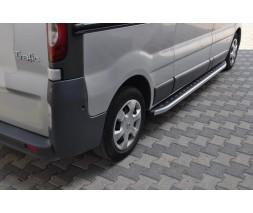 Nissan Primastar 2002-2014 гг. Боковые пороги Fullmond (2 шт, алюм.) Короткая база