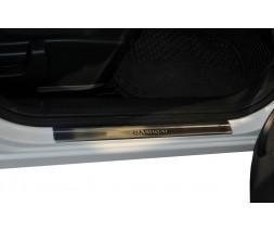 Nissan Qashqai 2010-2014 гг. Накладки на пороги (Omsa, 4 шт, нерж.) -20212 (длинный)