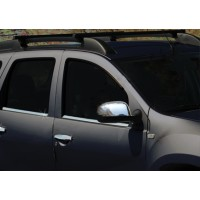 Накладки на зеркала вариант 1 (2 шт) Carmos - Турецкая сталь для Nissan Terrano 2014+