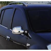 Накладки на зеркала вариант 2 (2 шт) Итальянская нержавейка для Nissan Terrano 2014+