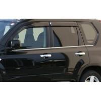Окантовка стекол (6 шт, нерж) OmsaLine - Итальянская нержавейка для Nissan X-trail T30 2002-2007