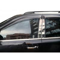 Молдинг дверных стоек (8 шт, нерж) для Nissan X-trail T31 2007-2014