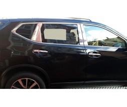 Nissan X-trail T32 /Rogue 2014+ гг. Хром на стойки (нерж)